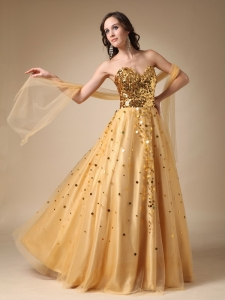 Gold A-line Sweetheart Sequins Pageant Celebrity Dress