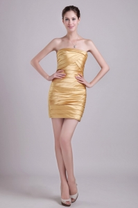 Gold Column Nightclub/Cocktail Dress Mini-length Taffeta Ruch
