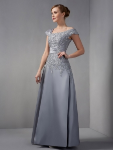 Gray Asymmetrical Ankle-length Appliques Mother Dress with Lace