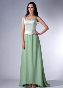 Spaghetti Straps Green Brush Train Chiffon Bridesmaids dresses