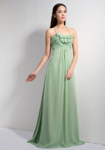 Green Halter Bridesmaid dresses with Brush Train Ruch