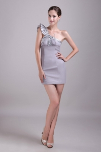 One-shoulder Mini-length Grey Nightclub/Cocktail Dress Rhinestones
