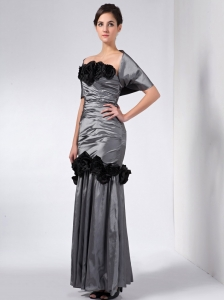 Grey and Black Mother Of The Bride Dress Hand Made Flowers