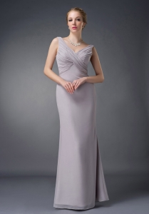 Column V-neck Grey Floor-length Ruch Mother Of The Bride Dress
