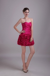 Hot Pink Sweetheart Mini-length Beading Nightclub/Cocktail Dress