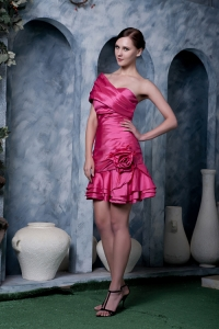 Hot Pink Taffeta Hand Made Flower A-line Nightclub/Cocktail Dress