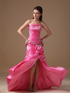 Strapless Rose Pink Pageant Evening Dress Beading Brush Train