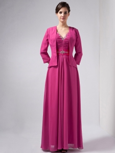 V-neck Ankle-length Chiffon Beading Hot Pink Mother Dress