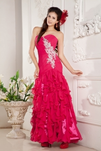 Hot Pink Sweetheart Prom Pageant Dress Empire Appliques Ruffles