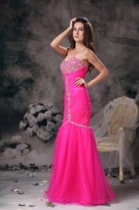 Hot Pink Mermaid Organza Beading Pageant Evening Dress