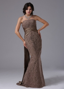 Mermaid Lace Watteau Train For Modest Pageant Evening Dress