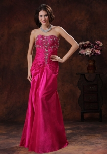 Hot Pink Lace-up Pageant Celebrity Dress With Beaded Decorate