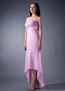 Lavender Chiffon High-low Chiffon Ruch Bridesmaid dresses