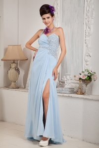 Light Blue One Shoulder Prom Pageant Dress High Slit Beading