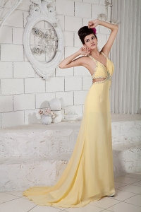 Sexy Light Yellow Straps Chiffon Beading Pageant Evening Dress