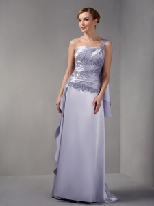 One Shoulder Mother of The Bride Dress Brush Train Lilac Appliques