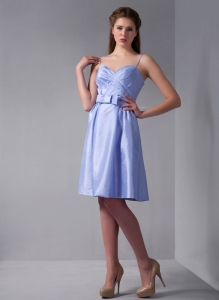 Lilac Bridesmaid Dresses Column Straps Knee-length Taffeta Ruch