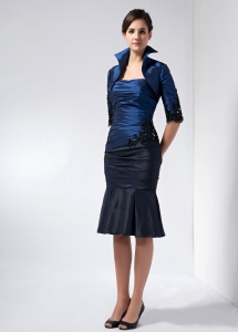 Navy Blue Knee-length Taffeta Beading and Appliques Mom Dress