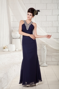 V-neck Navy Blue Chiffon Beading Prom Pageant Dress
