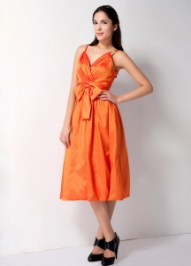 Orange Bridesmaid Dress with Spaghetti Straps and Bow