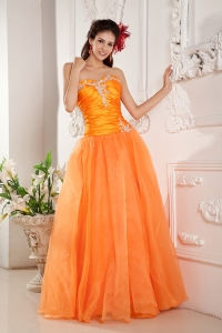 Orange Sweetheart Prom Pageant Dress Floor-length Appliques