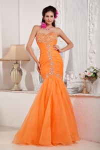 Sweetheart Orange Mermaid Prom Pageant Dress Beading