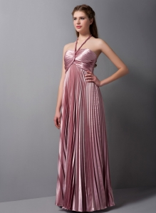 Haltered Elastic Woven Satin Pleat Bridesmaid Dresses in Pink