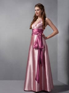 V-neck Two-tone Pink Elastic Woven Satin Sash Bridesmaid Dress