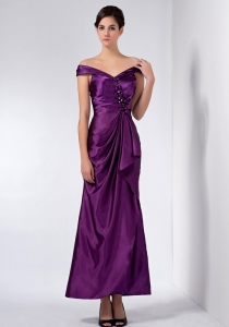 Purple Off The Shoulder Ankle-length Beading Mother Dress