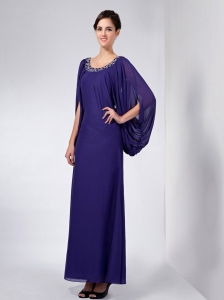 Ankle-length Purple Mother Of The Bride Dress Scoop with Sleeves