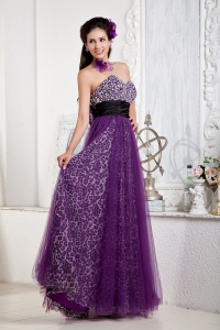 Leopard Prom Pageant Dress Purple Tulle Black Waistband Bow