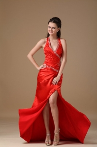Red Halter Brush Train Taffeta Beading Pageant Celebrity Dress