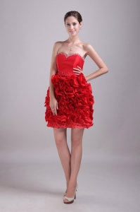 Red Sweetheart Ruffles Nightclub/Cocktail Dress with Beading