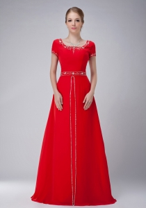 Scoop Beading Red Floor-length Chiffon Mother Of The Bride Dress