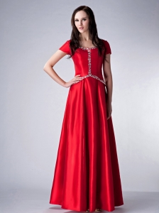Scoop Red Empire Floor-length Satin Beading Mother Dress