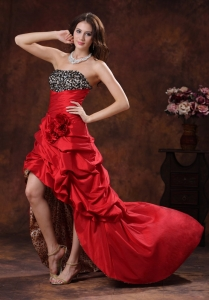 Red Leopard Print High-low Pageant Evening Dress Beaded Decorate