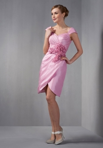 Rose Pink Column Cap Sleeves Ruch and Hand Made Flowers Mom Dress
