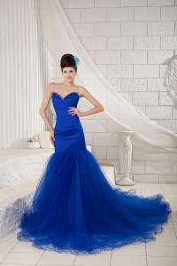 Mermaid Royal Blue Prom Pageant Dress with Chapel Train