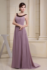 Elagant Scoop Prom Dress With Light Purple and Brush Train