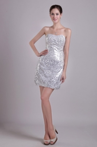 Silver Sequins Mini-length Nightclub/Cocktail Dress Column Strapless