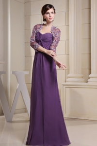 Ruched Purple Chiffon and Floor-length Moms Dress