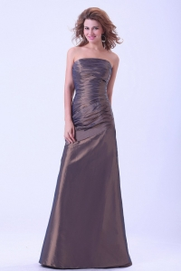 Simple Brown Prom Dress Strapless A-line Taffeta Floor-length