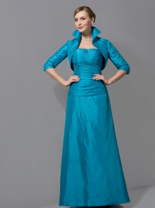 Teal Strapless Mother Of The Bride Dress Floor-length Taffeta Ruch
