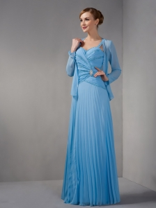 Light Sky Blue Mother of The Bride Dress Straps Pleats and Ruching