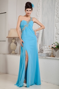 Teal One Shoulder Prom Pageant Dress Floor-length Beading