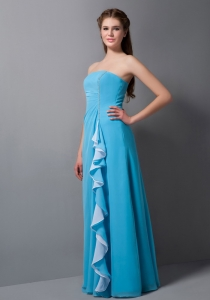 Teal Bridesmaid Dress Empire Strapless Chiffon Beading