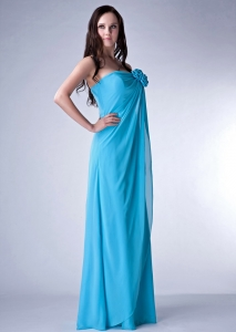 Teal Empire Strapless Hand Made Fowers Maid of Honor Dress