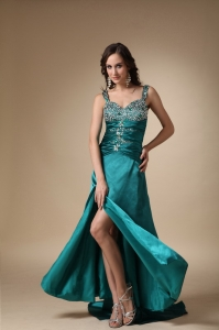 Straps Brush Train Elastic Woven Satin Beading Pageant Evening Dress