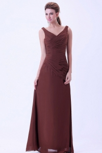 V-neck Chiffon Brown Bridemaid Dress Floor-length