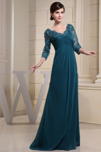 V-neck and 3/4 Sleeves For Teal Mothe Dress With Lace